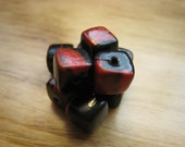 8mm Handmade Red & Black Square Bead 10Pack, Polymer, Bead Supplies