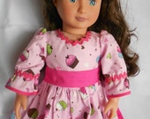 Pink and brown cupcake birthday dress with matching hair bow for American Girl and 18 inch doll  NOW ON SALE