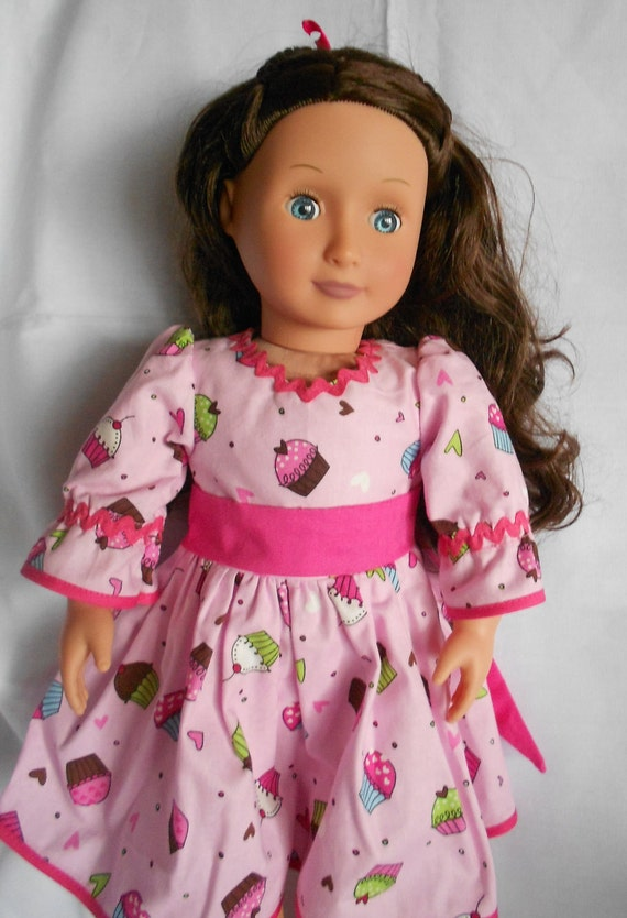 Pink and brown cupcake birthday dress  for American Girl and 18 inch doll  NOW ON SALE