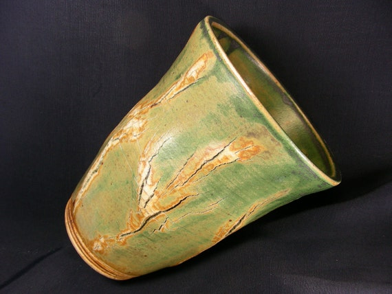 ChingWenArts Stoneware Vase, Green and Brown , Signed, V4674