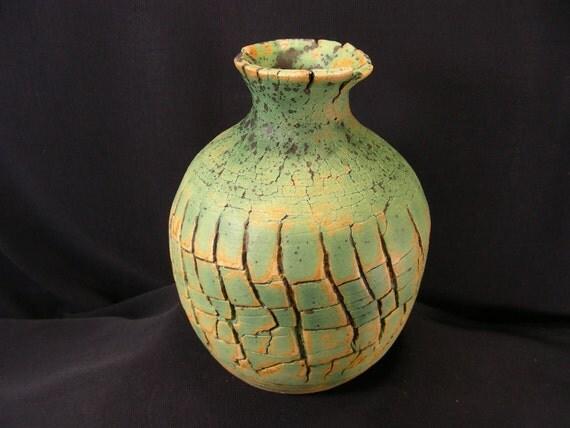 ChingWenArts Studio Pottery Stoneware Vase Pot, Patina Green Brown, Signed, V5352