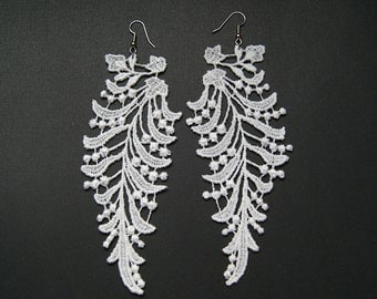 Lace Earrings // CAMELOT // White Lace Dangle Earrings // Bridal