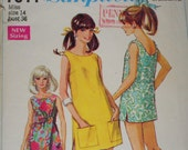 Vintage Jiffy Mini Dress or Overblouse and Pants Pattern (1968) - Simplicity 7644