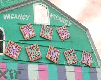 Fun House - Carnival Fair Ride Colorful Pastel Mint Green Pink Purple Girly Nursery Decor Vintage Kids Summer Wall Art Photo