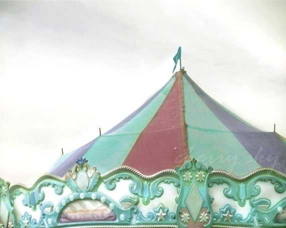 Carousel Top - Carnival Circus Amusement Park Ride Colorful Pastel Girly Nursery Decor Summer Mint Green Purple Tent Nostalgia Photo