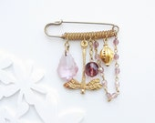 Lilac Treasures Pin Brooch - Crystals, Chains and Brass - StarDelights
