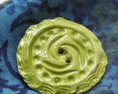Large Spring Green Round eco friendly clay button for purse shawl home decor