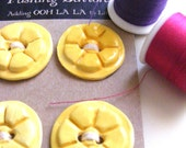 Handmade ceramic  sunny YELLOW ROUND BUTTONS floral motif  for sewing, knitting, home decor, art assemblage