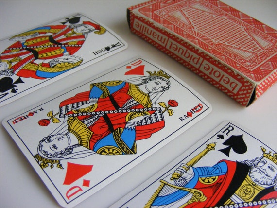 French vintage playing cards original box full set 32  beautiful French graphics for artist collector card shark from Pushing Buttons