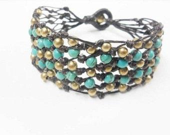 Wax Cord  Net  Turquoise  Bracelet