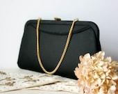 Vintage 1960s Black Evening Bag - purse clutch wedding prom elegant simple