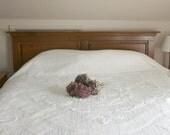 Vintage White Chenille Bedspread - 1950s