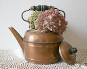 Vintage Copper Tea Kettle - antique aged patina