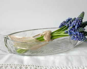 Vintage Clear Glass Serving Relish Dish