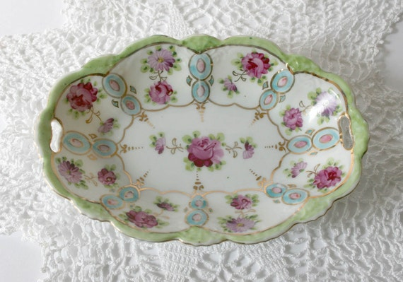 Antique Vintage Nut or Candy Dish - pink flowers, green, gold