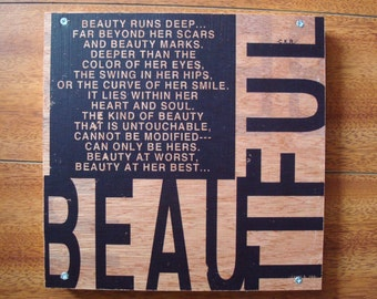 "Wood Art Inspirational Quote Verbiage Typography Image Transfer: ""BEAUTIFUL"""
