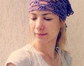Purple Lace Scarf in Boho Style / Head and Hair kerchief  / Spring Summer Fashion / bandana / europeanstreetteam