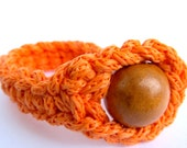 Orange Crochet Cord Bracelet Fiber Rope Bracelet with Wood Bead Europeanstreetteam
