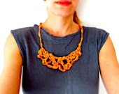 Orange Fiber Necklace / Unique Crochet Saffron Statement Necklace by LikeFreja - Fiber Jewelry - Summer Fashion europeanstreetteam