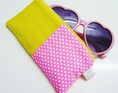 Neon pink and yellow summery sunglasses case COLOR BLOCK