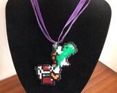 "Small Super Mario World ""Yoshi"" Hama Bead Sprite Necklace"