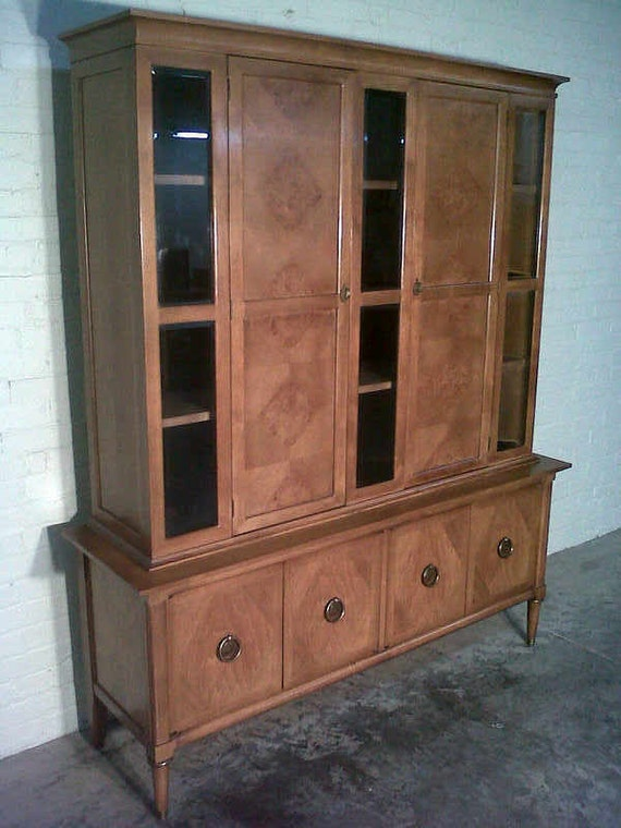 Mid Century China Cabinet Hutch Buffet By