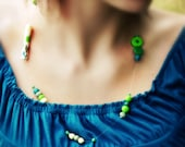 Polymer Clay beaded Necklace-white, green, grey, blue and yellow