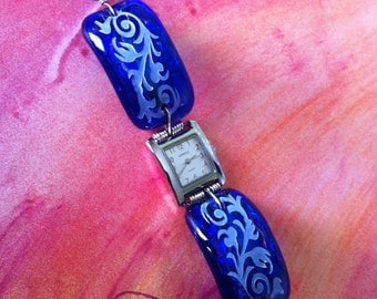 Sandcarved Design on Blue Glass Watch