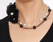 3 Black Flowers with White and Mistic Pearls