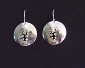 Hand made hammered sterling silver earring