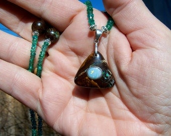 Green Apatite and Boulder Opal Necklace