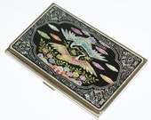 Lacquer wares inlaid with Mother of pearl Business card holder credit ID card case Crane design
