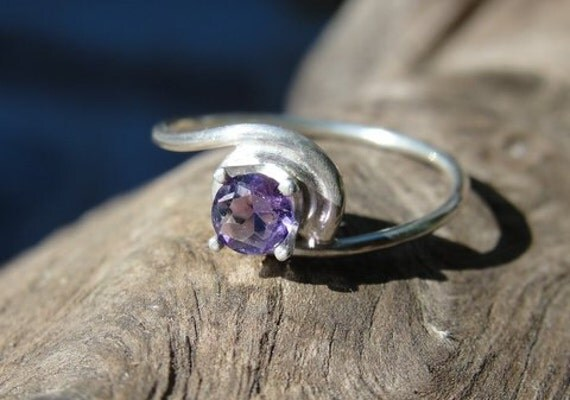Amethyst Sterling Silver Swirl Promise Ring - Natural Genuine 4mm Round Amethyst Gemstone - 925 sterling silver band