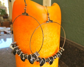ON SALE Hoops with Black Leaves and Floral Spacers