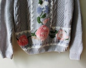 vintage 70s 80s 90s Slate Periwinkle Embroidered Jumper Sweater