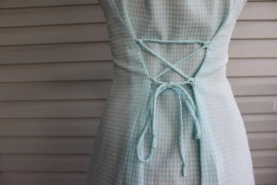 s a l e vintage 1980s 1990s Pastel Blue Gingham Corset Dress