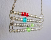 Happy Holidays Bead Necklace - red, turquoise, lime green