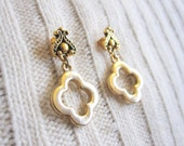 Gold clover charm earrings with Victorian style posts