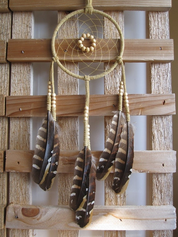 Dream Catcher Tan Seude with Pheasant Feathers
