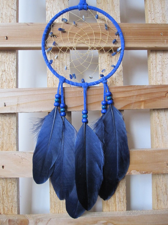 Dream Catcher Navy Blue Suede with Goose Feathers