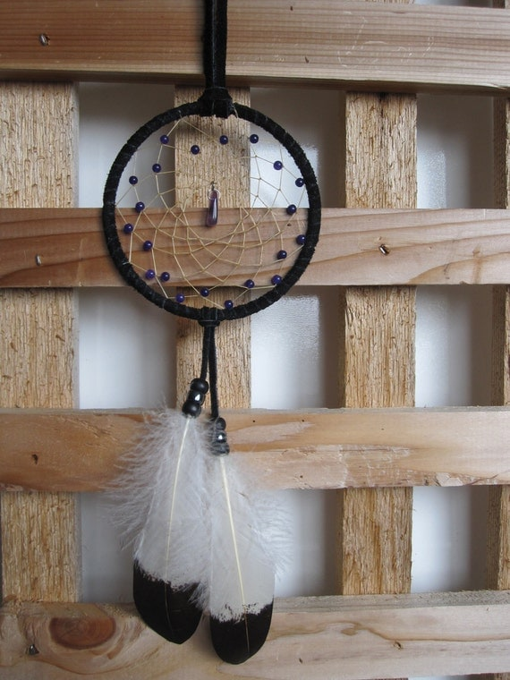 Black  Dream Catcher with Hand Painted Golden Eagle Coverlet Feathers