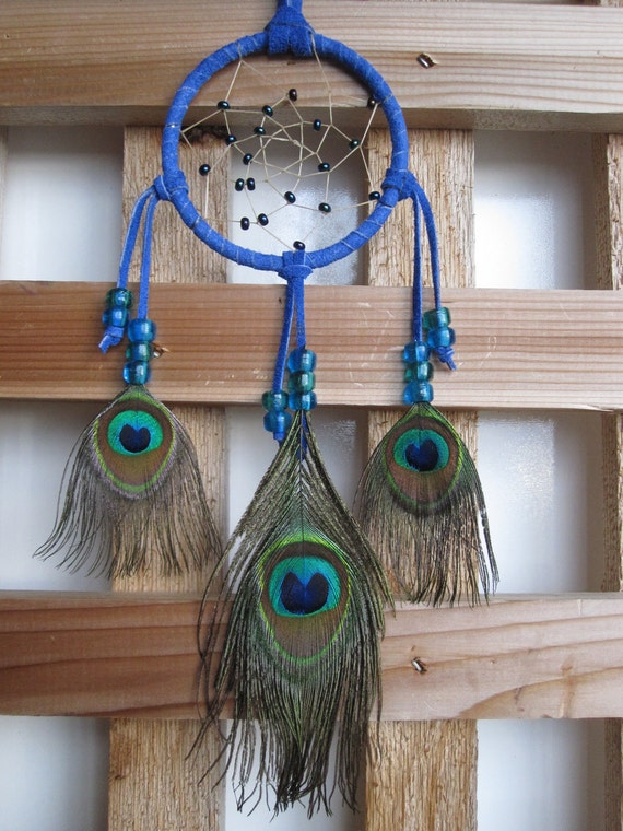 Navy Blue Dream Catcher with Peacock Eye Feathers