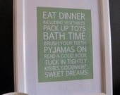 Bedtime routine bus roll/scroll, wall decor for child bedroom/nursery SAGE. Ready to frame and hang on the wall
