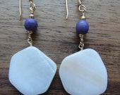 Shell natural white hexagon shape with purple wood bead earring on gold wire handmade