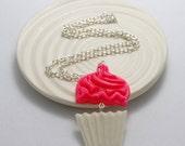 Pink Sprinkle Cupcake Resin Necklace