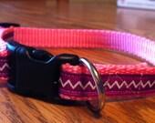 Custom dog collar small pink and purple adjustable collar