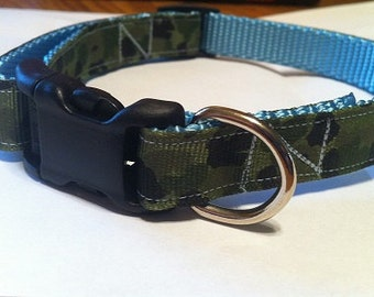 Dog colllar handmade adjustable blue camo