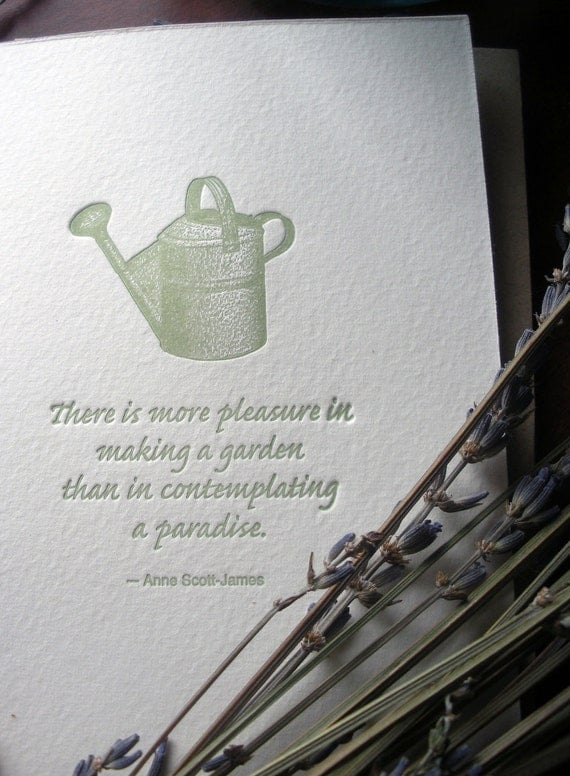 Items similar to letterpress card vintage watering can for Balcony quotes