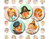 INSTANT DOWNLOAD, 1 Inch Circle Collage of Vintage Retro Kids, Printables for Bottlecap Images, Pendants, Pins, Stickers