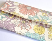 Clutch floral print pastel colors expandable lined magnetic snap